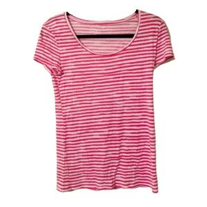 Ann Taylor Striped Red/Pink & White Scoop Neck Top